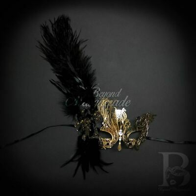 Elegant Swan Feather Mask Gold Masquerade Ball M7139 Halloween Face Costume Cosp