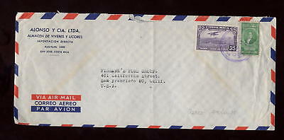 COSTA RICA 1954 AIRMAIL 35c + 60c COVER to USA