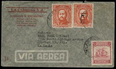 PARAGUAY 1947 AIRMAIL COVER to USA.2 COLOUR FRANKING