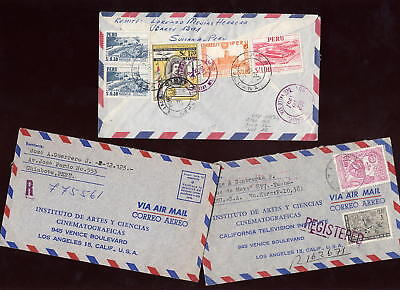 PERU 1964-8 AIRMAIL REGISTERED COVERS to USA x 3