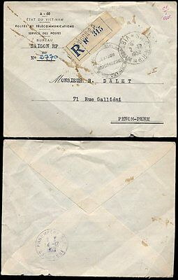 Vietnam 1952 Registered Official Rp Cover To Cambodia