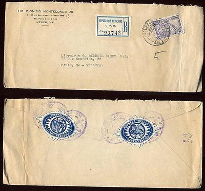 REGISTERED MAIL MEXICO 1930 UPU +SEALS SOLO 40c COVER