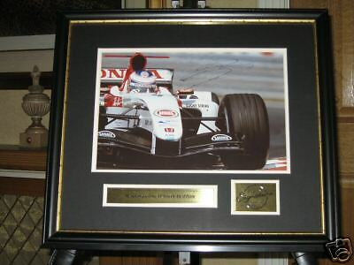 Signed & Framed Jenson Button Bar F1 Picture  *Awesome*