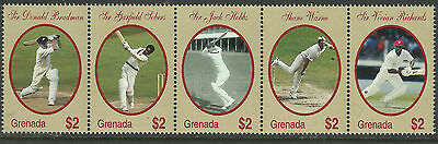 GRENADA 2000 WISDEN CRICKETERS OF CENTURY Warne Bradman Sobers STRIP 5v MNH