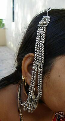 Rare! Antique Tribal Old Silver Earring With Hair Chain