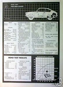 1967 Fiat 850 Road Test Data From Road & Track 10/1966