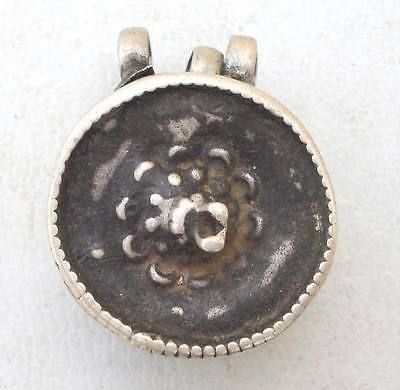 Antique Collectible Ethnic Tribal Old Silver Coal Box Pendant Amulet Necklace