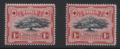 TONGA 1942 1d TREE...BLACK SHIFTED..TREE MOVED to RIGHT