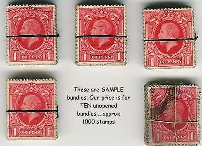GB KG5th 1934 PHOTOGRAVURE 1d ...1000 stamps..Vintage Kiloware Bundles x10.