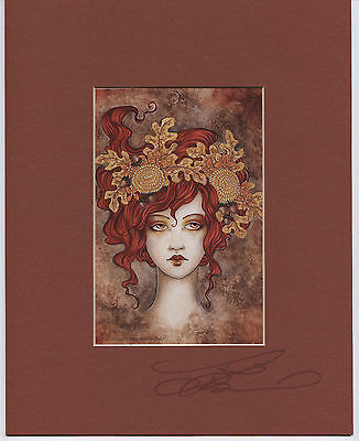 Amy Brown - Autumn - Matted Postcard - SIGNED