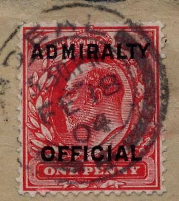 GB OFFICIAL ADMIRALTY 1903 1d T2 FU on PIECE..DEAL KENT