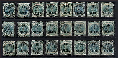 GB OFFICIAL I.R.QV 1900 1/2d GREEN..CDS VERY FINE USED...24stamps.. CV£240+