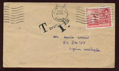 POSTAGE DUE GHANA 1957 COVER to USA...OVERWEIGHT