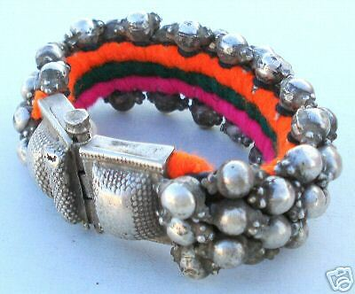 Antique Collectible Ethnic Tribal Old Silver Beads Bracelet Bangle India