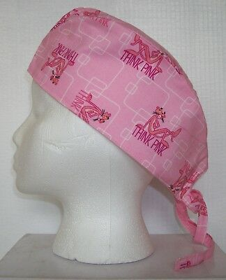 Surgical Scrub Hat Skull Cap made with Pink Panther Cotton Fabric Nurse Chemo ER