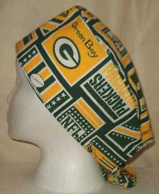 Surgical Scrub Hat Cap Made w Green Bay Packers NFL Fabric Nurse Chemo ER Skull