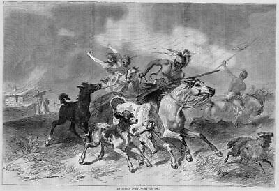Indian Foray Attacking Settlers Stealing Horses Darley