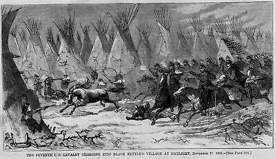 Seventh Cavalry Charging In Black Kettle Village Indians Teepee Horses Battle