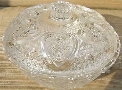Vintage CUT CLEAR GLASS CANDY DISH COVER MALAYSIA KIG