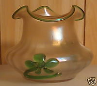 ANTIQUE  EARLY 1900s KRALIK IRIDESCENT ART GLASS VASE FLOWERS  APPLIED