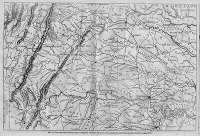 Railroads Civil War Richmond Virginia Roads Antique 1862 Harper's Weekly Map