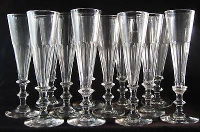 12x antique early 19th C. Flute, Champagne Glass, ca.1820, funel cuppa & 2 knops