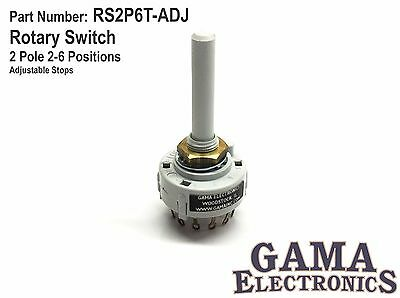 Rotary Switch 2 Pole 2-6 Positions  Adjustable Stops - RS2P6T-ADJ