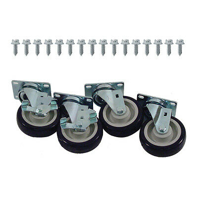 "Caster Set Heavy Duty Plate Mount 4"" Wheel NEW 35811"