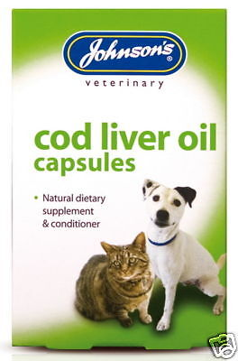 JOHNSON'S DOG CAT COD LIVER OIL CAPSULES SUPP VITAMINS 40 Tablets in each box!