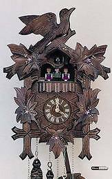 1-day musical - carved cuckoo clock - flowers - 13'