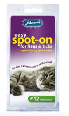 Johnson's Kitten Cat Spot-On Flea Drops 12 Weeks Skin Treatment