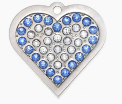 Dog Cat Id Tag Disc Engraved Designer Sml Silver Heart Blue Swarovski Crystal