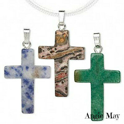 Wholesale Lot! 10* Gemstone CROSS Pendants with Bails