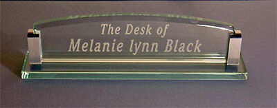 Glass Desk Name Plate - includes FREE Engraving!