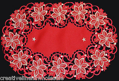 """Christmas Embroidered Cutwork Poinsettia RED GOLD Placemats 11x17"""" OVAL Holiday"""