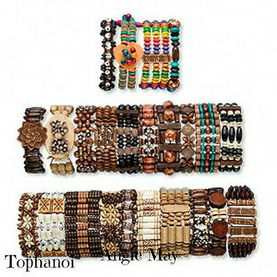Wholesale Lot 12* Boho Wood Bracelets Great Jewelry Mix