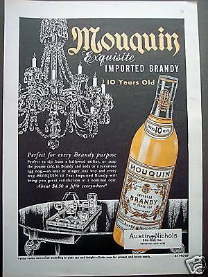 1953 Mouquin imported Brandy vintage print ad
