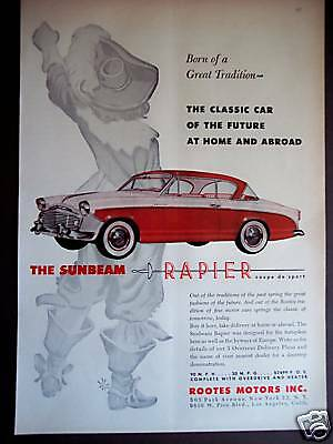 1956 Roots Motors Sunbeam Rapier vintage Car print ad