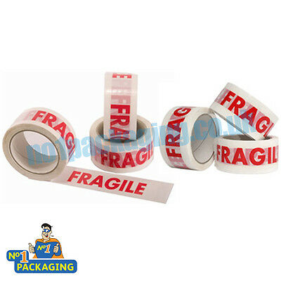 6 Rolls Of Fragile Printed Packing Parcel Tape 66 Meter Packaging Low Noise