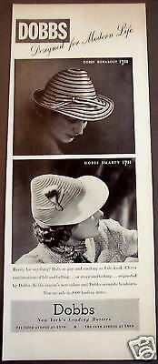 1939 DOBBS Runabout and Smarty Ladies Hats vintage ad