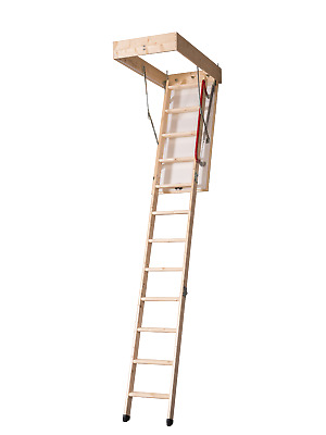 DJM Timber Wooden Loft Attic Folding Ladder 2.8m Deluxe Wood Frame 1100 x 550mm