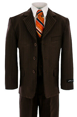 Johnnie Lene Brown Pinstripe Boys Suit  Baby to Teen