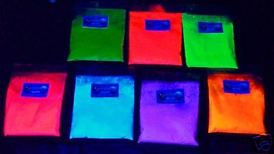 Ultraviolet uv glow florescent pigment powder ALL 7 COLOURS