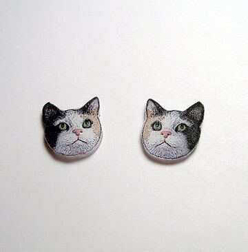 Calico Cat Stud Earrings Handcrafted Plastic Made in USA