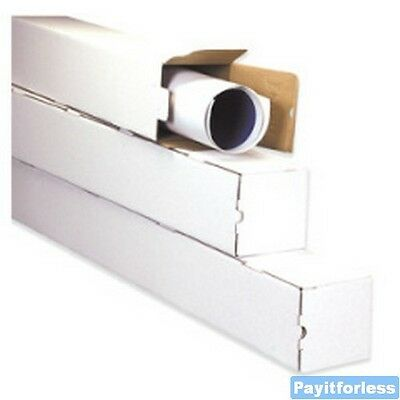 "5"" x 5"" x 48""  White Square Shipping Mailer Mailing Storage Boxes Tubes 50 Pc"