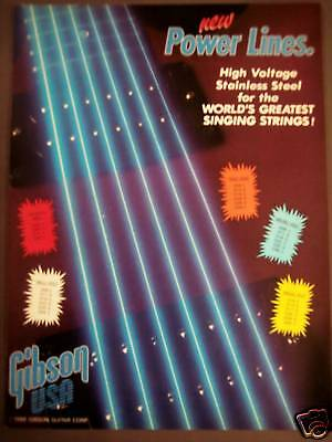 1986 GIBSON Stainless Steel Strings Vintage MUSIC Ad