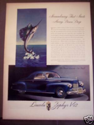 1941 LINCOLN-ZEPHYR V-12 for '42 Classic Automobile Ad