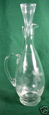 Vintage Optic Etched Glass Crystal  Decanter or Pitcher
