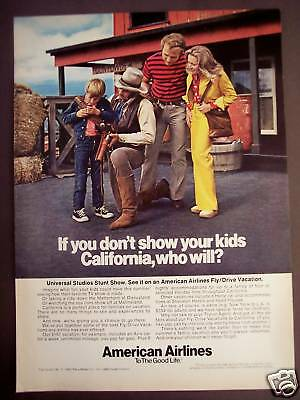 1973 Cowboy AMERICAN AIRLINES California Vacation Ad