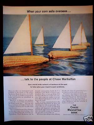 1956 CHASE MANHATTAN BANK Floating Corn-on-the-Cob Ad